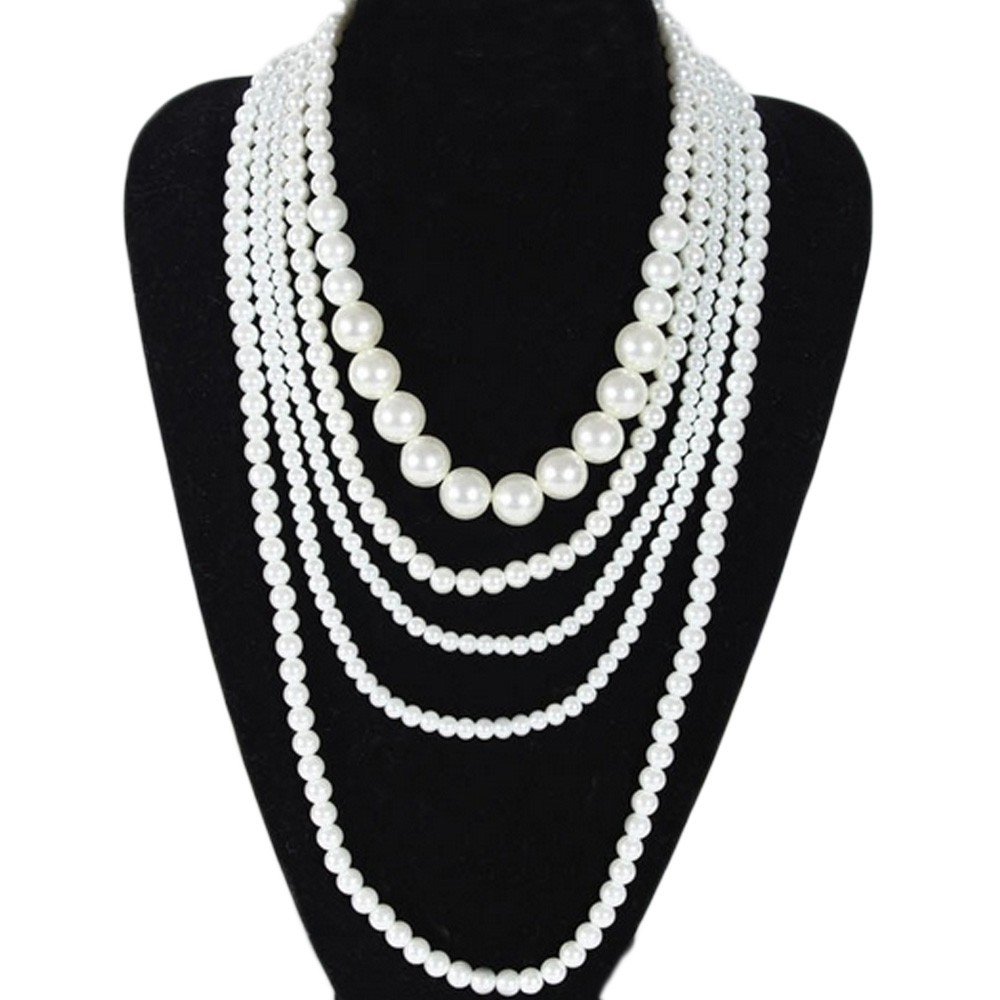 White elegant Ladies Womens Wedding Multi layer Faux Pearl Necklace