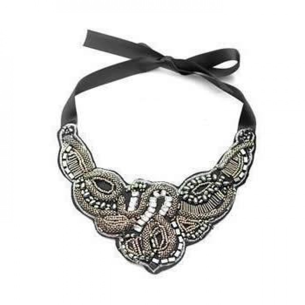 FREE SHIPPING TO AU Black Vintage And Silver Faux Leather Necklace