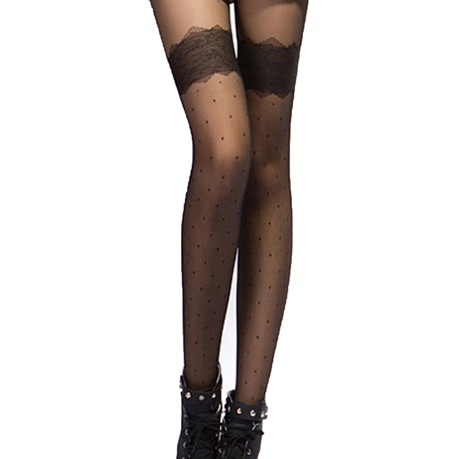 FREE S/H TO AU Black/White Womens Sexy Lovely Dots Sheer Thigh Stockings
