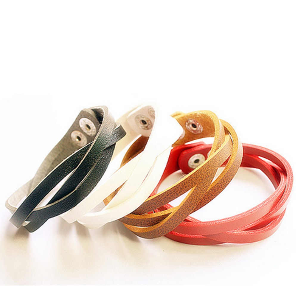 Faux Leather Bracelet Strand - A08#