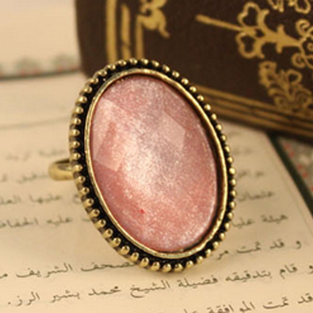 FREE SHIPPING TO AU Pink Ladies Stylish Faux Crystal Bronze Antiqued Ring