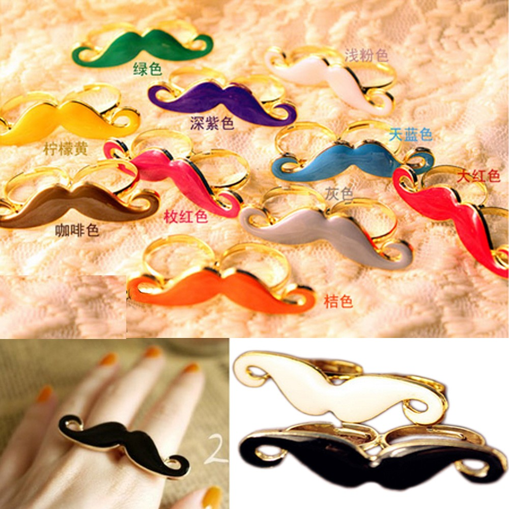 Multicolor Womens Handlebar Mustache Double Finger Adjustable Ring Designer