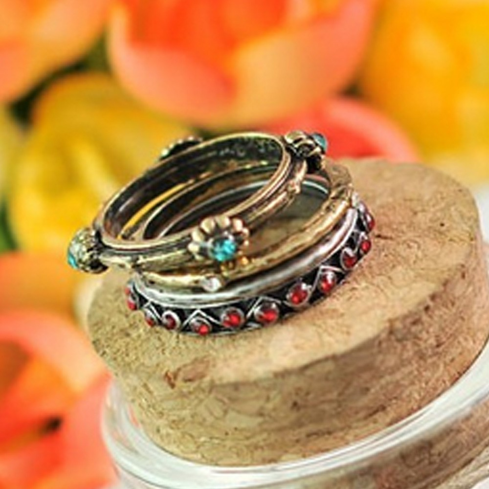Ladies Vintage Womens NEW Stacking Rhinestone Rings