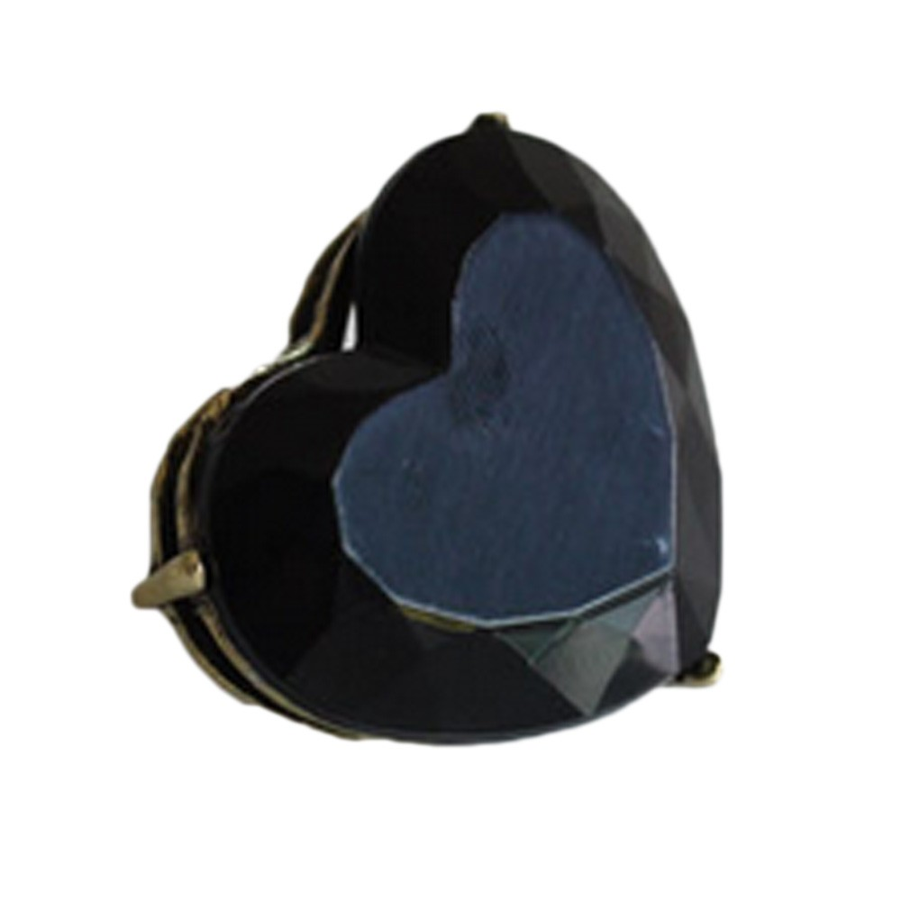 Black Ladies New Cute Womens Heart Faus Crystal Ring