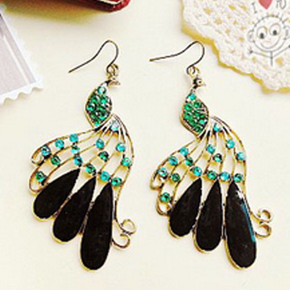 Black Ladies Peacock Diamante Dangle Drop Earrings Womens Accessories Boho