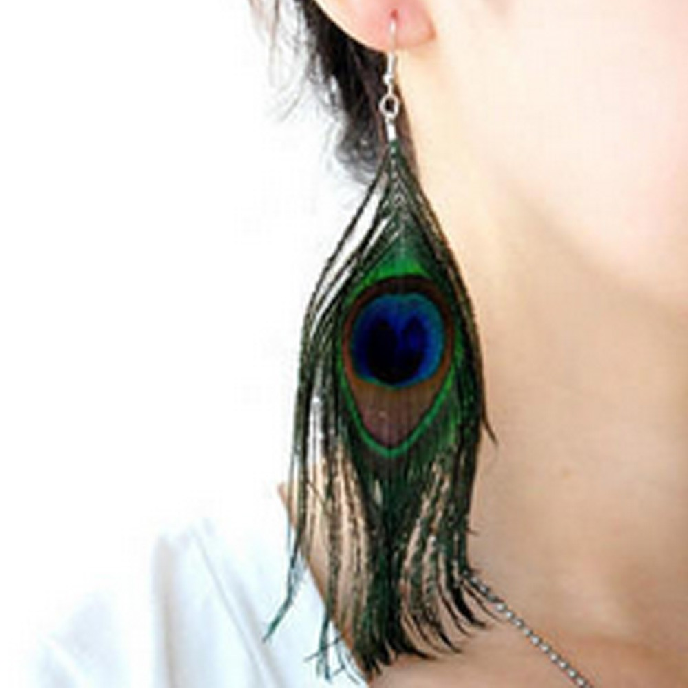 Ladies Womens NEW Peacock Feather Dangle Drop Hook Earrings Fabric Bronze