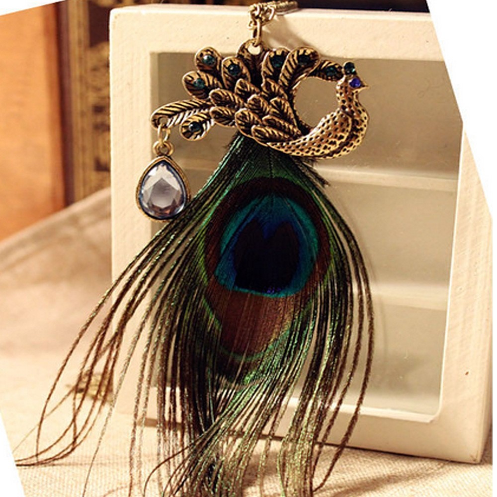Bronze Colorful fur Womens Peacock Feather Crystal Pendant Chain Necklace