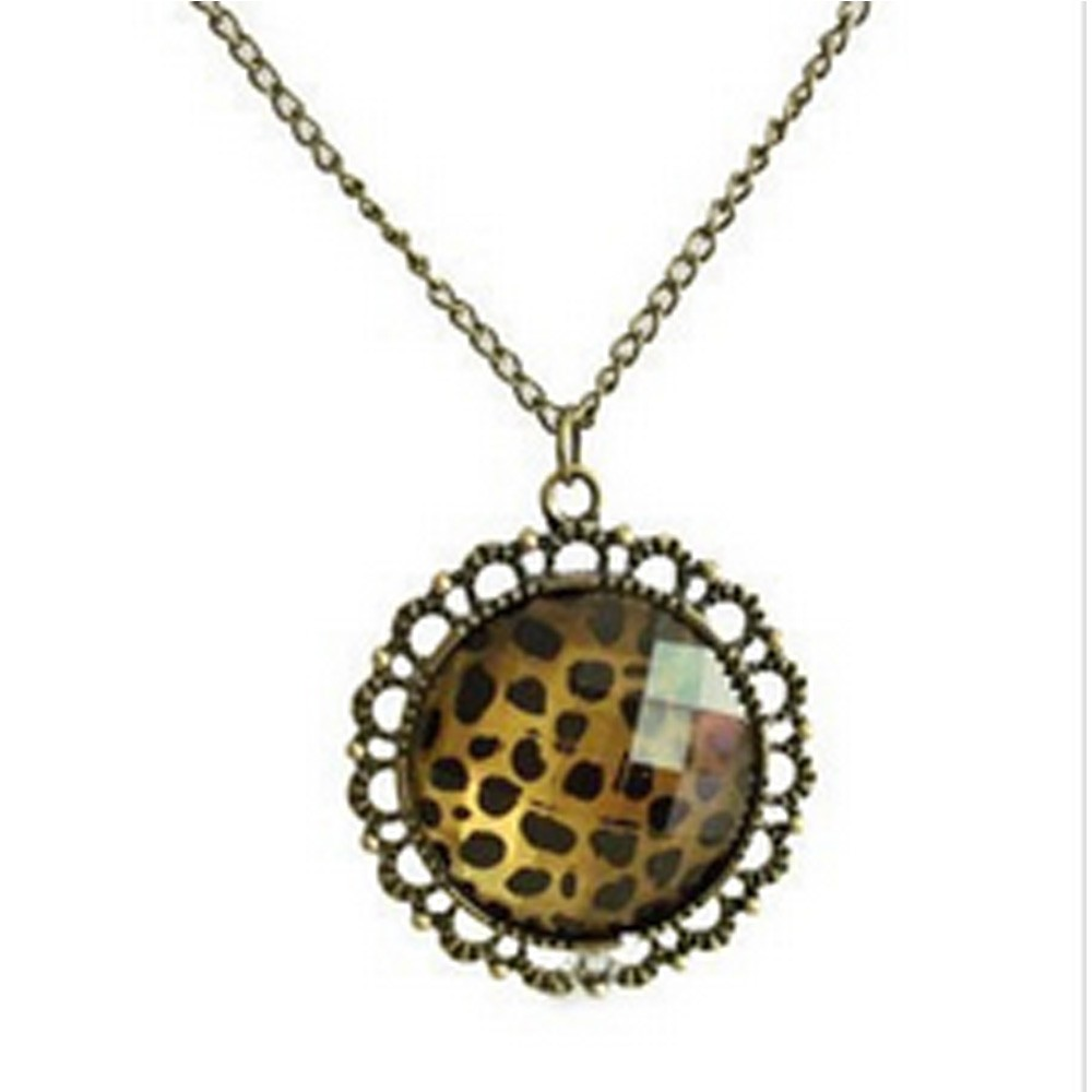 Brown Animal Print Accessories Vintage Old Leopard Diamante Pendant Necklace