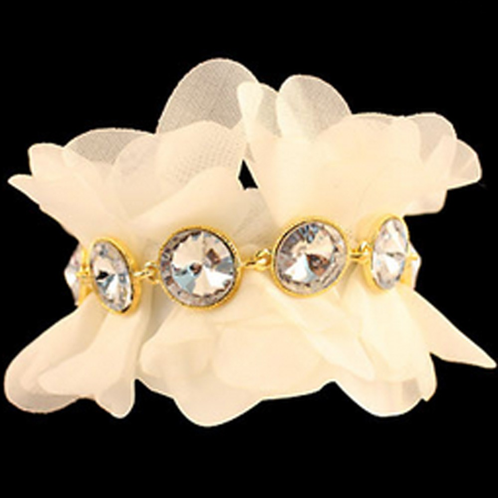 White Modern Bridal Ladies VTG Chiffon Faux Crystal Bracelet