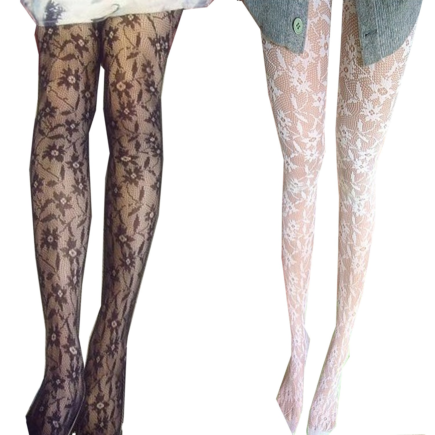 Ladies Floral Pantyhose Fishnet Stockings AU Sexy NEW Hosiery Black/White
