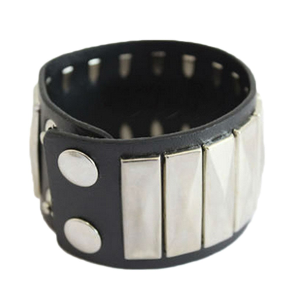 Black Punk Womens Wrist Band Mens Rock Fashion Studded Bracelet Bangle