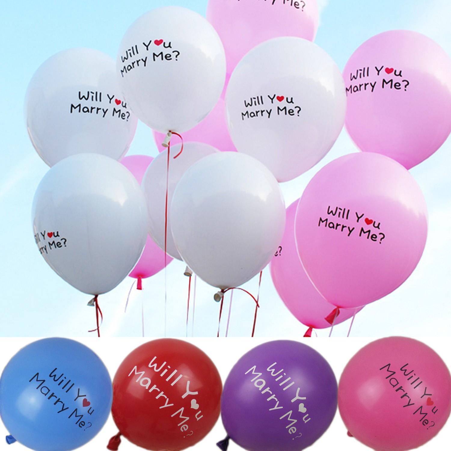 WILL YOU MARRY ME Engagement Balloons Bulk 12 inch - BL08#