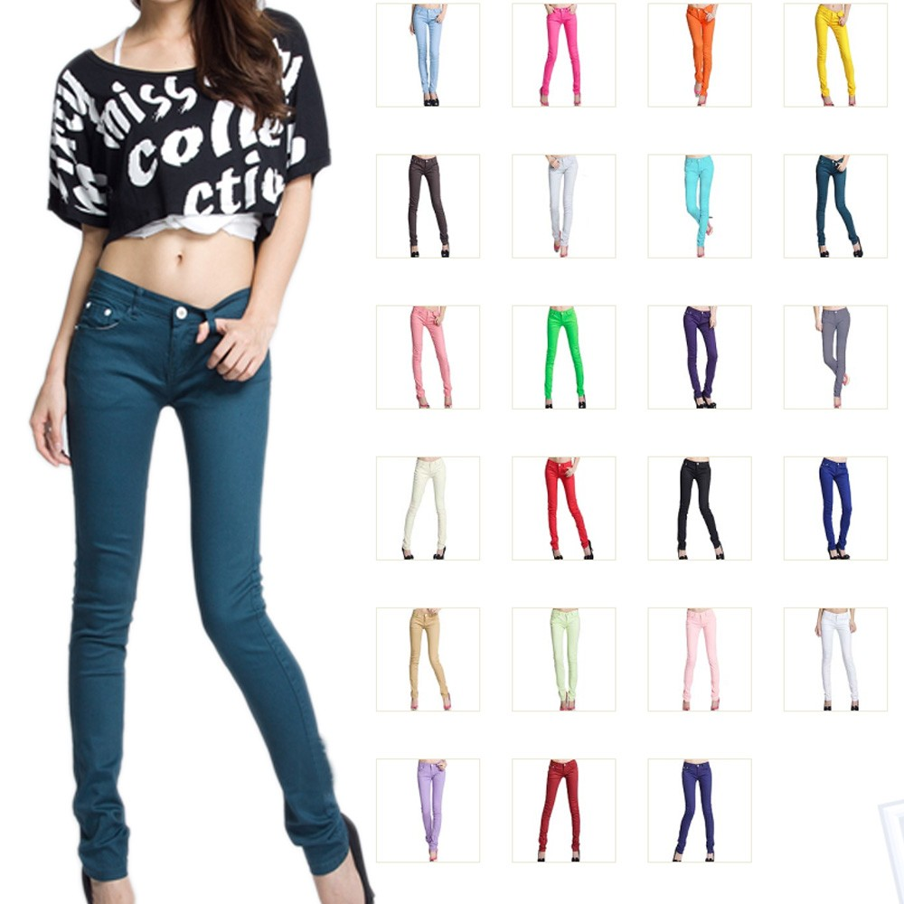 Girls NEW Boho Work Color Womens Stretch Pencil Skinny Pants Jeggings 25-30