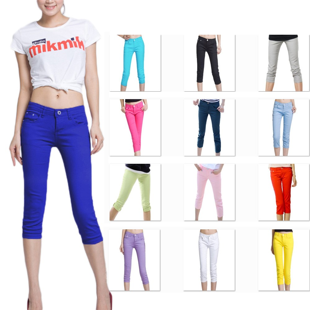 Crop Skinny Capri Pants Jeggings XS-M