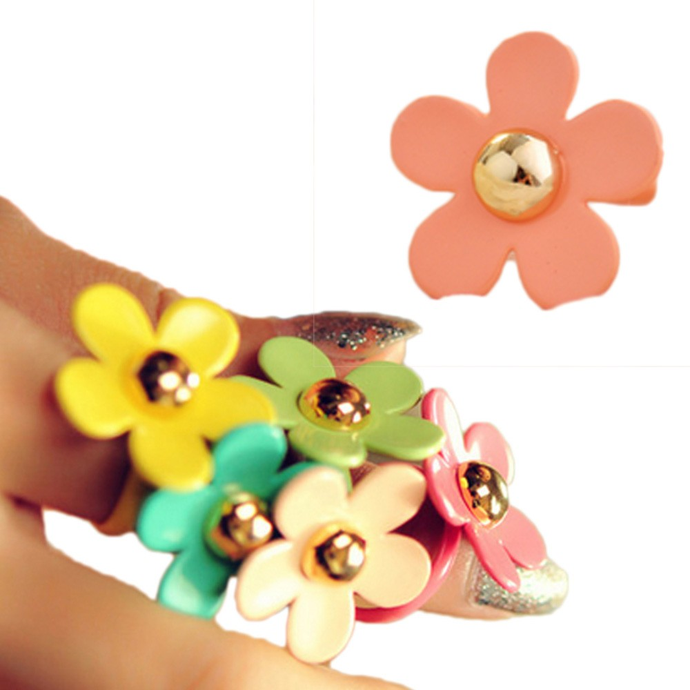 Girls Retro Womens Junior Vintage Ladies Flower Daisy Adjustable Ring