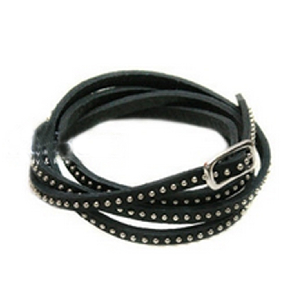 Black Vintage Faux Leather Long Studded Bracelet Strand