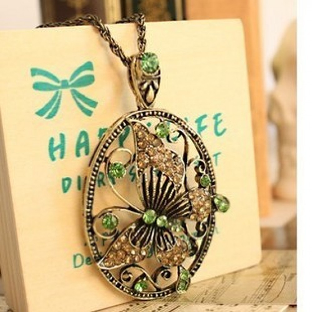 Butterfly Pendant Chain Necklace - E218#