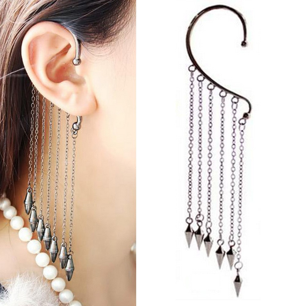 NEW Unisex Rock Spine Spike Ear Cuff Bolt Earring Chain  Punk Ladies