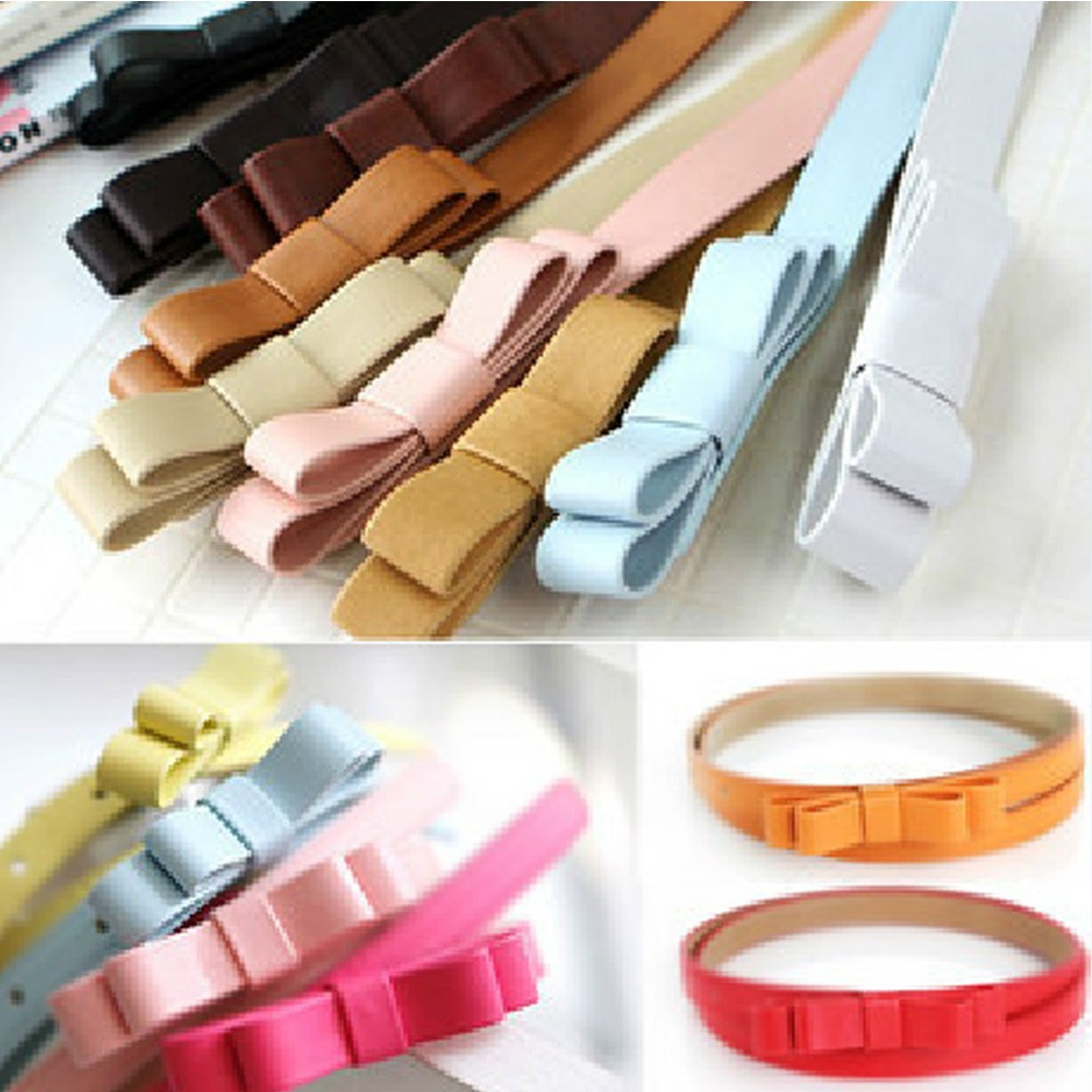 Adjustable Butterfly Ladies Candy Color Womens Bow Skinny Thin Low Waist Belt
