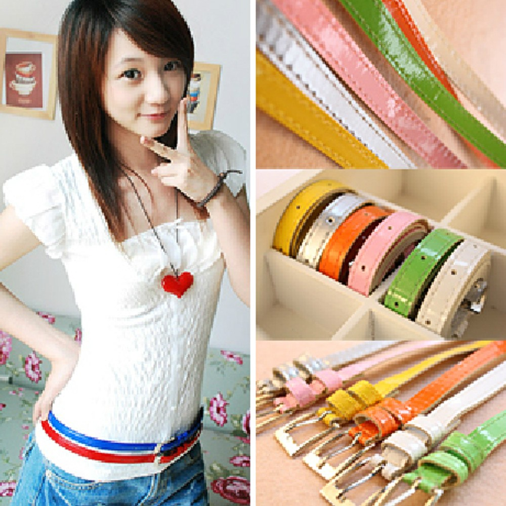 PU Leather Ladies Adjustable Party Waistband Girls Thin Skinny Buckle Belt