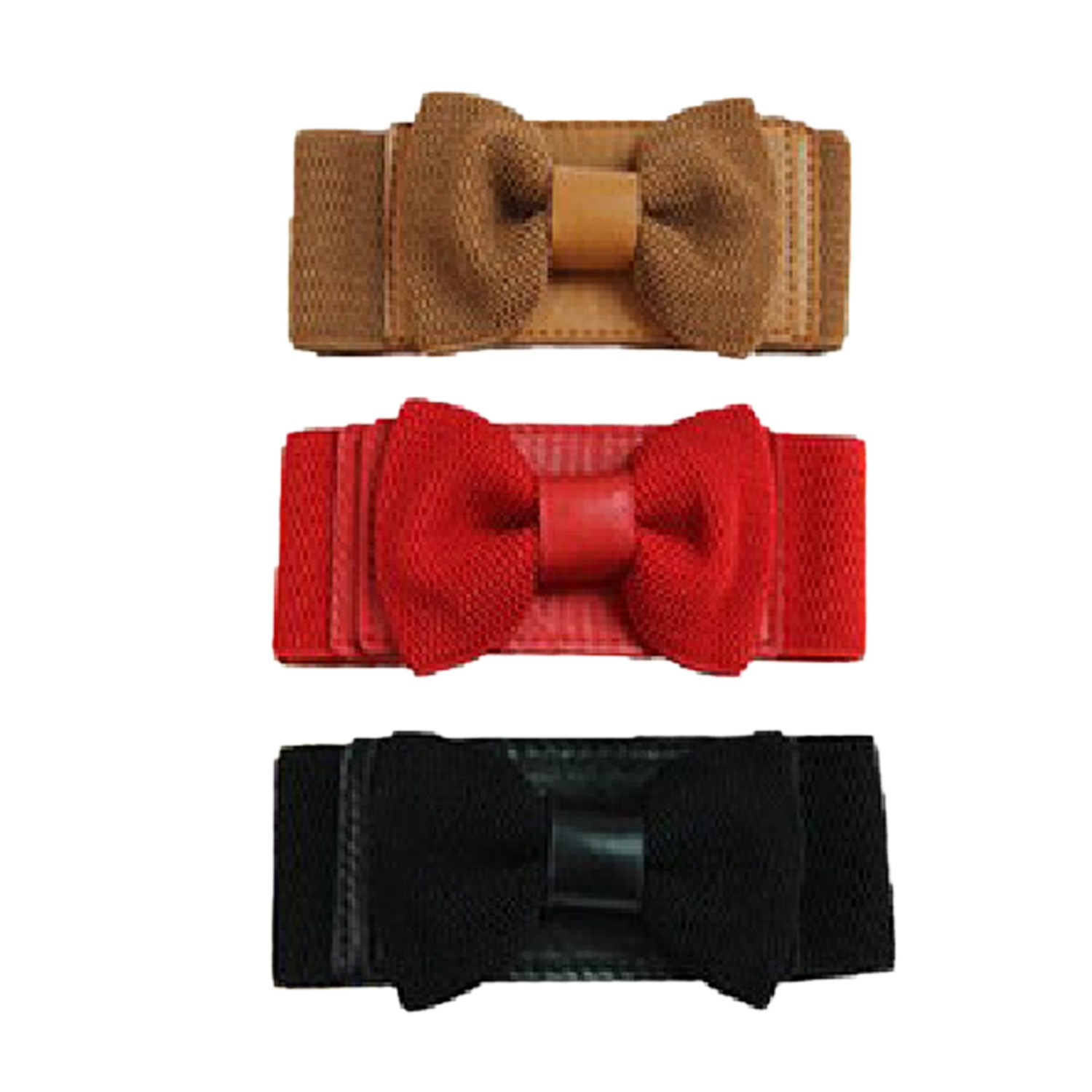 Gift Vintage Bow Woven Elastic Cinch Wide Belt Womens NEW Black/Brown/Red