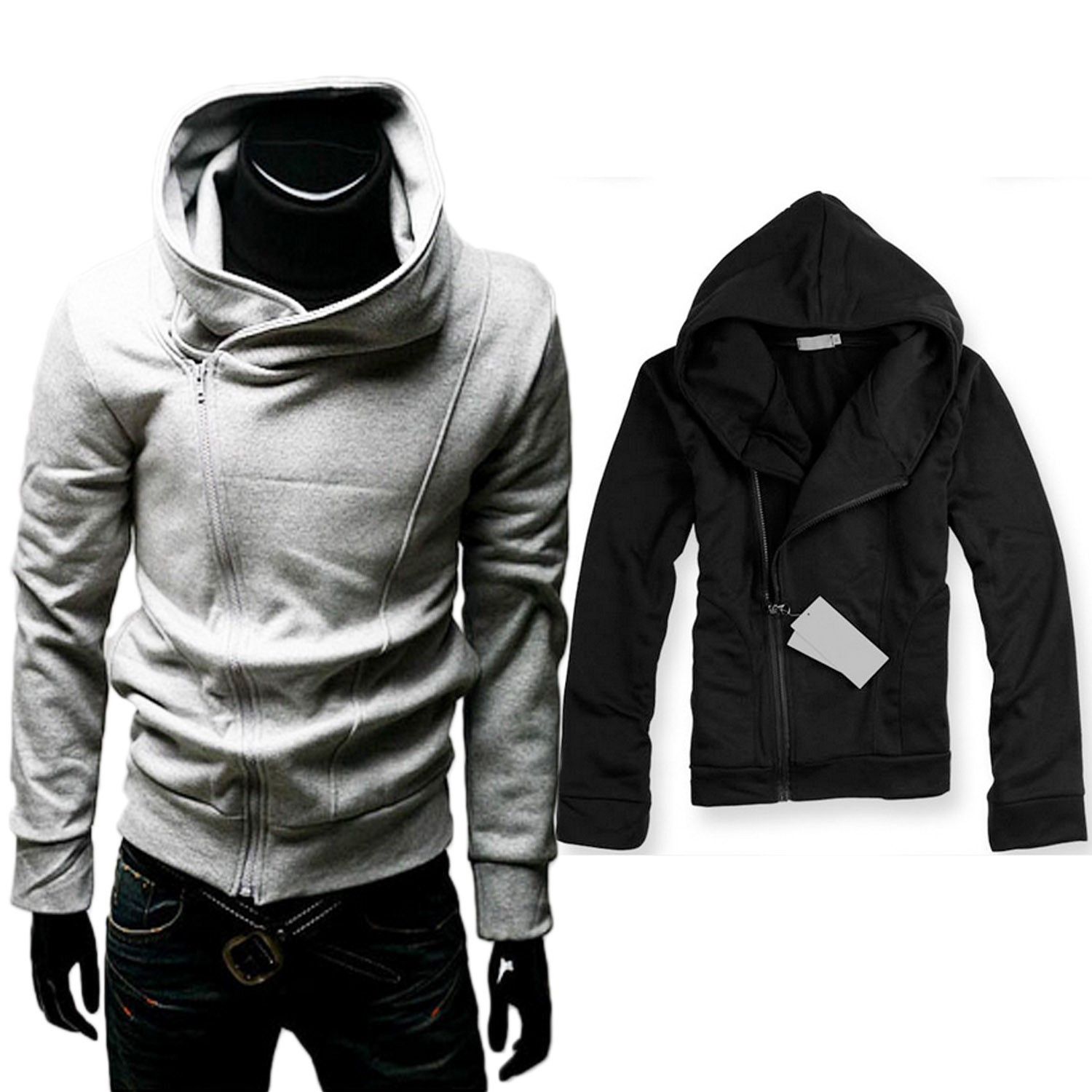 Black/Grey NEW Sweater Casual Unisex Zip Mens Jacket Blazer Outerwear Sz XS-L