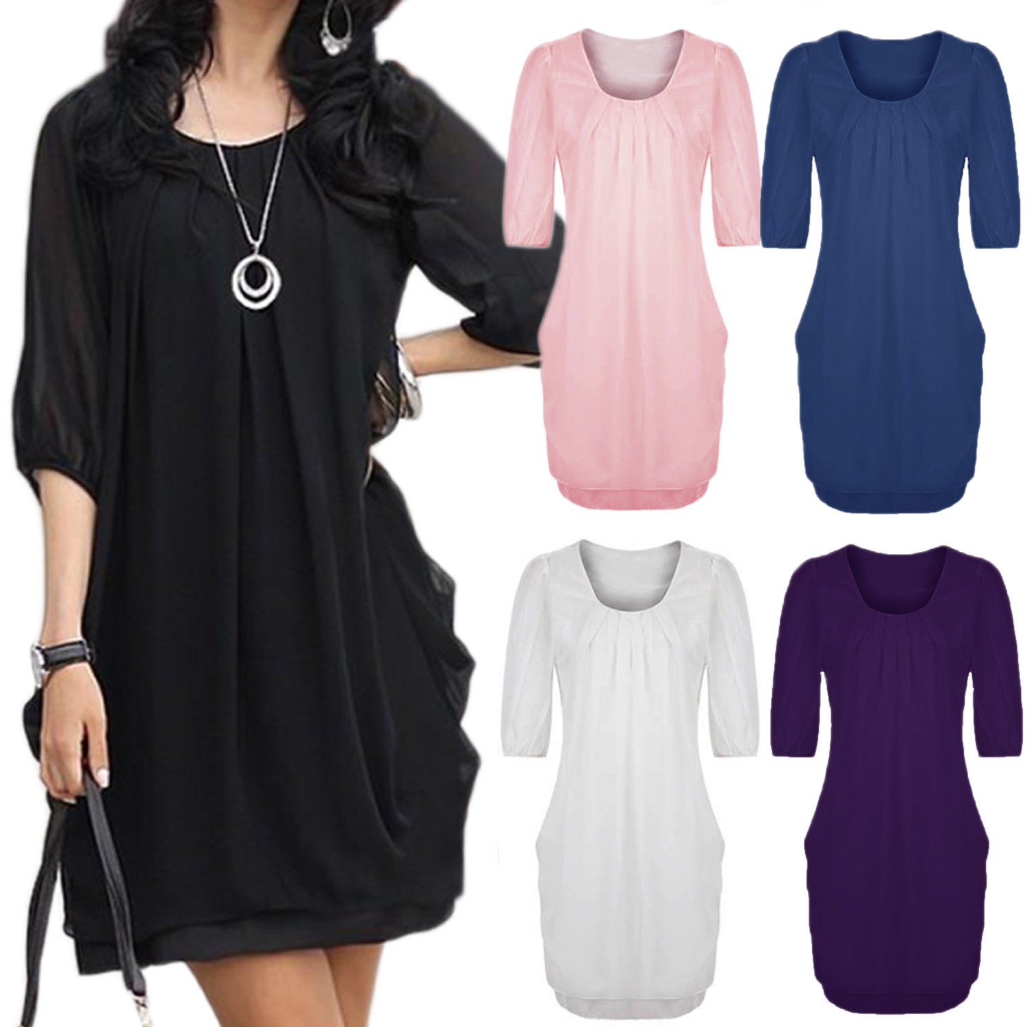 Chiffon Mini Dress - s150#