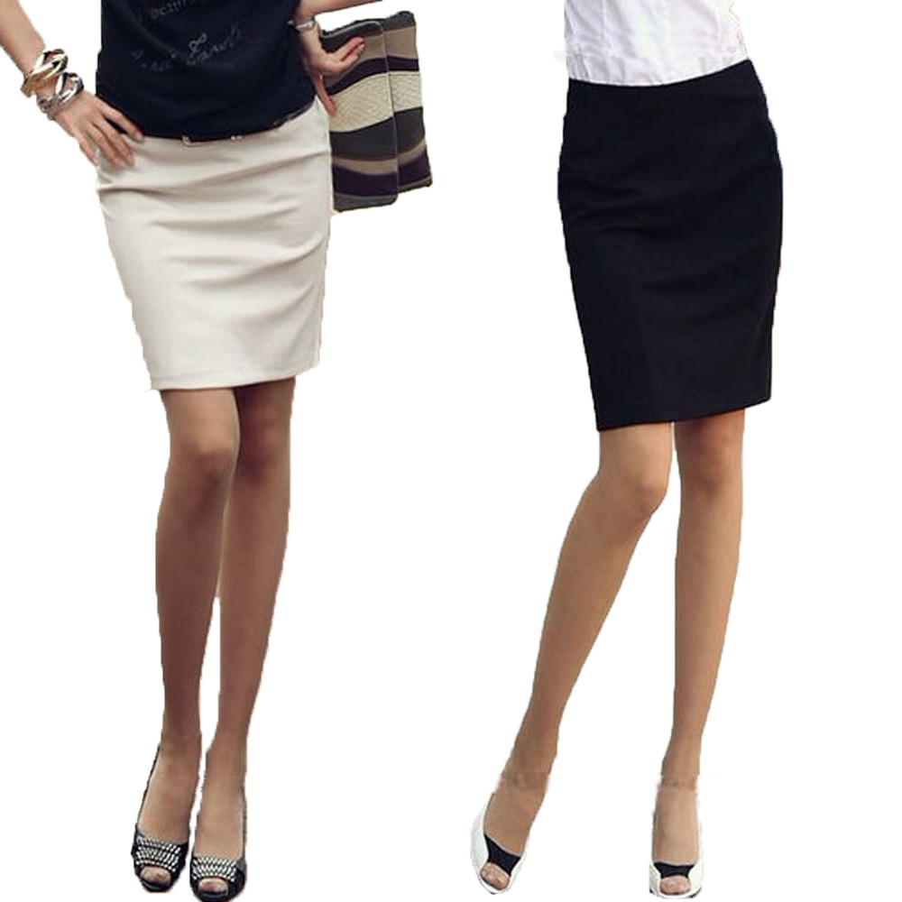 Beige/Black Bodycon Ladies Office Corporate Work Formal Pencil Skirt