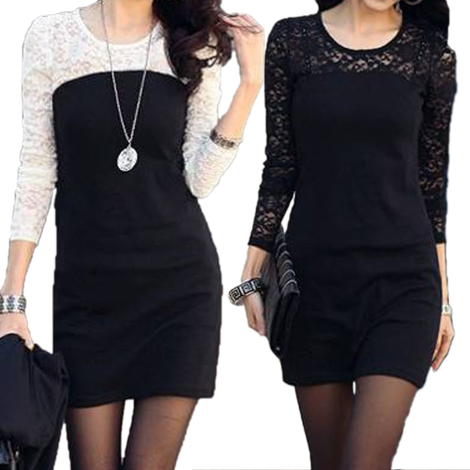 See Through Lace Mini Dress - S495#