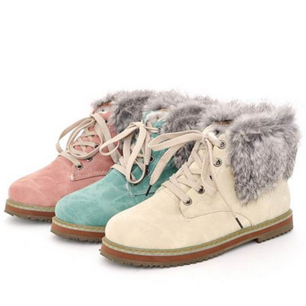 Lace up Ankle Boots Shoes AU 4 5 6 7 8 9 10 Classic Furry Beige/Blue/Pink