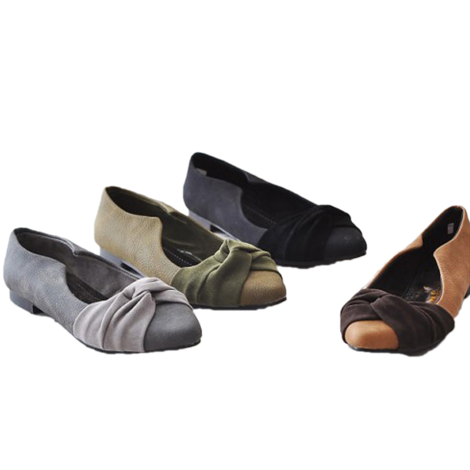 Faux Suede Two Tone Flat Ballet Shoes - SF01#