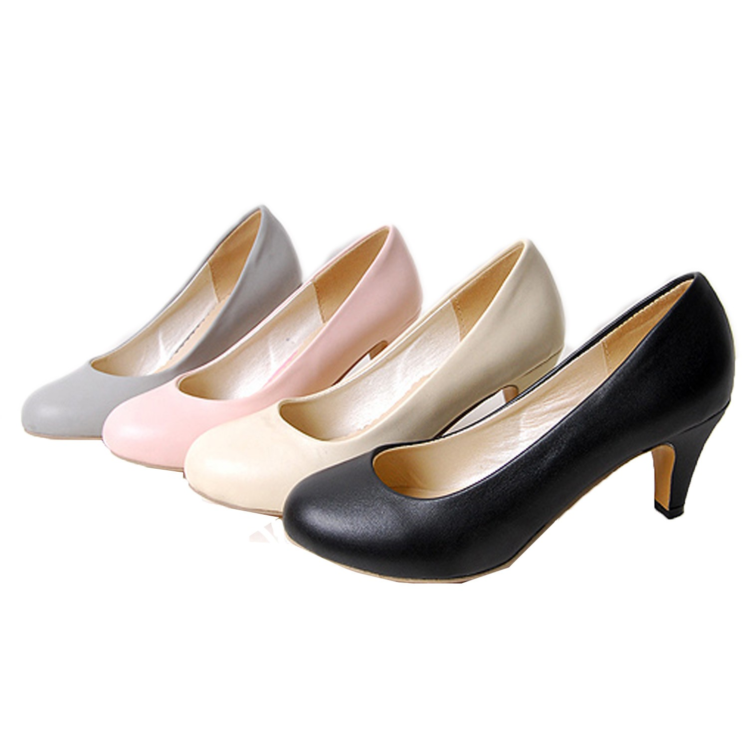 Beige/Black/Grey/Pink Sz 34-39 High Kitten Heels Pump Court Shoes AU 4 5 6 7