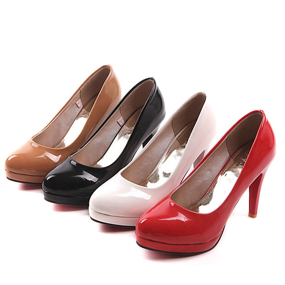 Beige/Black/Red/White Chic Vintage New Pump Court High Stiletto Heels Shoes