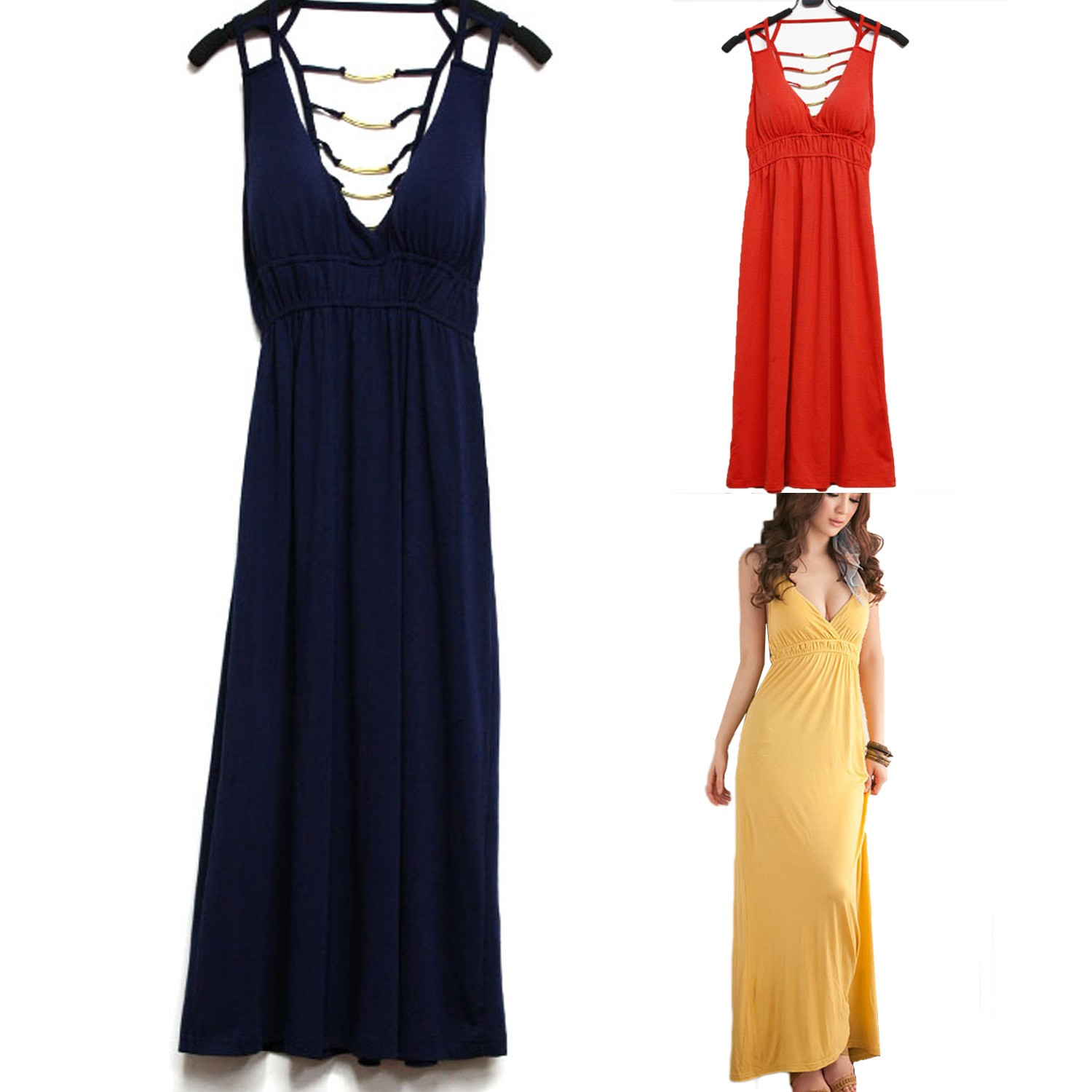 FREE S/H TO AU Navy/Red/Yellow Womens Backless Deep V Maxi Long Dress AU sz S